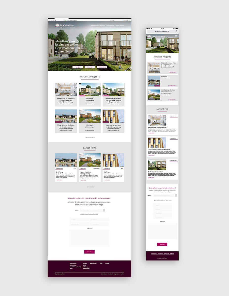 Screendesign für Landzinshaus