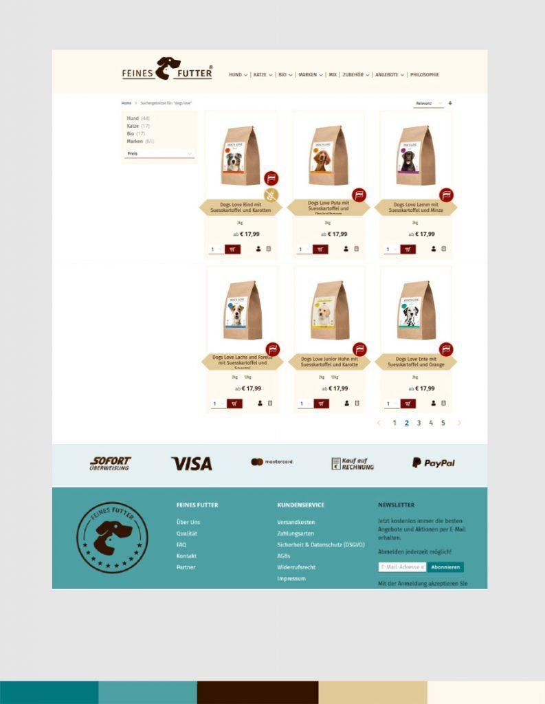 Screendesign für FEINES FUTTER