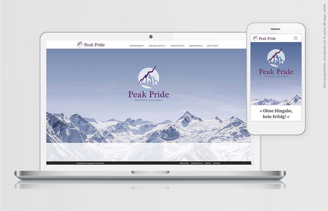 Screendesign für Peakpride